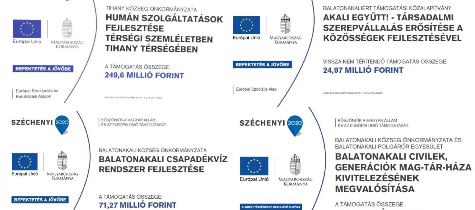 Településünk jelenleg is futó Uniós támogatásból megvalósuló pályázatai